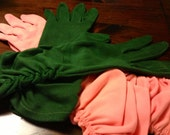 Vintage Gloves, Cotton Driving Gloves, Peach, Olive Green Ladies Accessories
