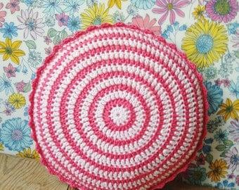 "Mini round pink crochet pillow/cushion 10"""