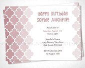 Moroccan Tile Birthday Invitation - Rose Ombre - DIY Printable