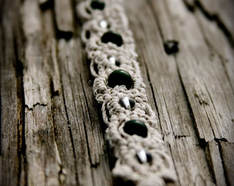 Thai Jade and Quartz Organic Macrame Lace Bracelet