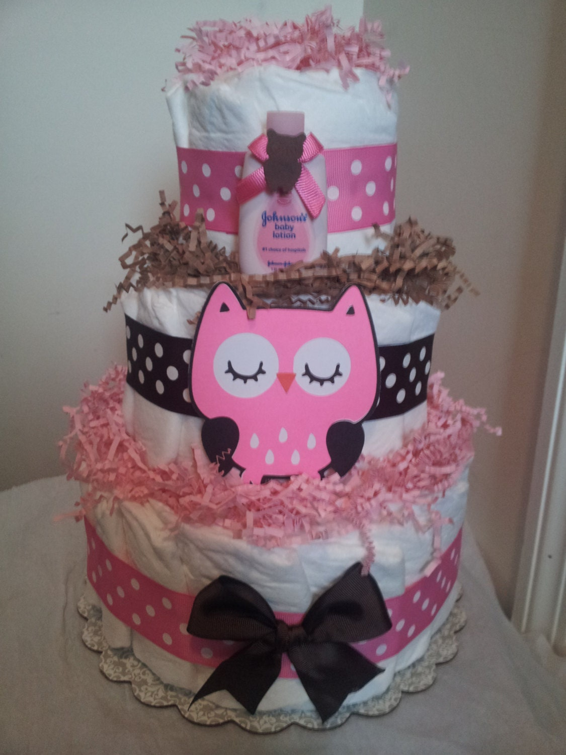 Pink and brown owl 3 tier diaper cake baby shower decoration for Baby shower diaper decoration