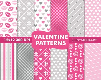 80% OFF Sale Clipart SALE Digital Paper Valentine's Day Background Patterns Clipart SALE