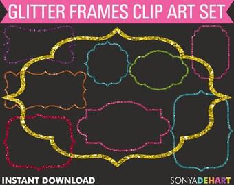 Glitter Frames, Frames Clipart, Gold Glitter Frames, Border Clipart, Digital Frames, Sparkle Frames, Glitter Frame Clipart SALE