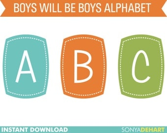 Clipart Digital Alphabet Boys Will Be Boys Clip Art