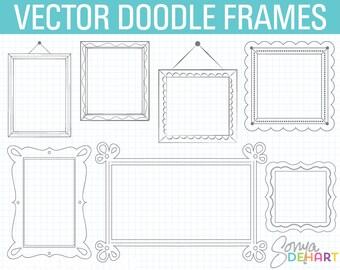 Doodle Frame Clipart, Digital Frames, Doodle Clipart, Hand Drawn Clipart, Frames Clipart, Doodle Frame, Frames Clipart