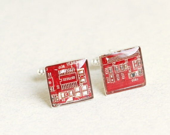 Circuit board Cuff links - Geekery  - Red Square cufflinks - recycled computer - gift for man