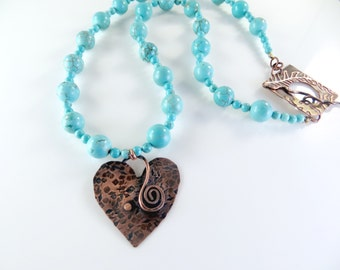 Copper heart and turquoise necklace
