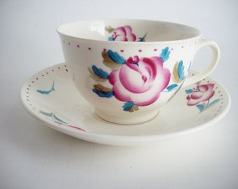 Vintage Rose Teacup Saucer Handpainted Roses Paussy Potter England