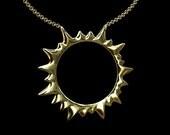 14K Gold Sun Circle Charm Pendant Neckalce