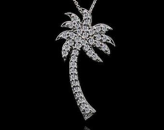 0.40Ct Diamond Palm Tree Pendant 14K Gold
