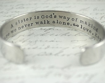 A Sister is God's Way of Making Sure We Never Walk Alone Secret Message Cuff Bracelet