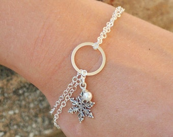 Sterling Silver Snowflake Bracelet - White Swarovski Pearl Bracelet -  Pearl Infinity Bracelet - Snowflake Jewelry