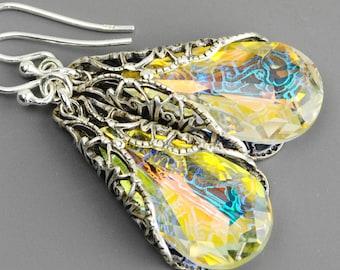 Aurora Borealis Earrings - Crystal Drop Earrings - Filigree Earrings Silver - Swarovski Earrings - Crystal Jewelry - Swarovski Jewelry