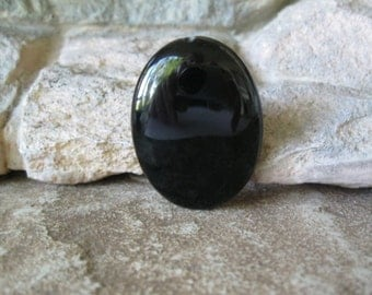 Large Black Onyx Focal Bead 30MM X 40MM Oval Natural Gemstone