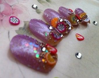 Citrus Sparkle Artificial Nail Art