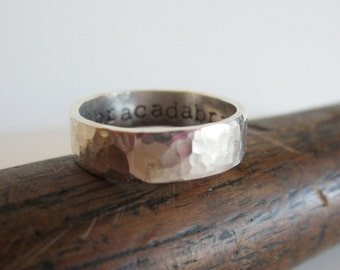 Personalized Hammered Sterling Silver Ring