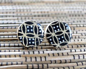 Black Gold Stud Earrings, Geometric Earrings, Japanese Chiyogami, Wood studs, Gift under 10, Paper and Wood earrings