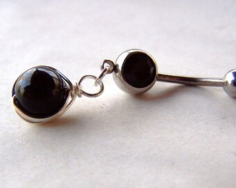 Bellybutton Jewelry Black Onyx Belly Ring Gemstone Belly Button Jewelry Navel Ring Piercing Body Jewelry