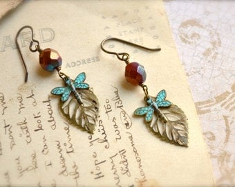 Dragonfly and Small Brass Leaf Earrings in Turquoise Patina with Copper Czech Glass Bead