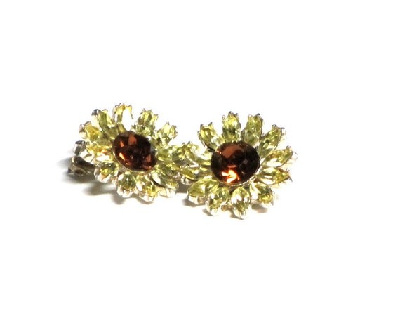 Vintage Topaz Sunflower Earrings, Floral Rhinestone Earrings, Citrine, Sunflower Earrings, Gold, Retro Style, Summer Fun, Gift For Mom