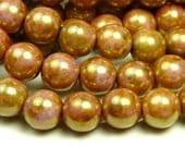 6mm Opaque Rose Gold Topaz Luster Czech Glass Beads - 11 Inch Strand (50pcs) - Round, Druk - BD8
