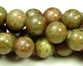 6mm Autumn Jasper Natural Gemstone Beads - 15.5 Inch Strand - Round, Opaque - BC14
