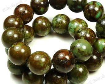 12mm Green, Brown and Turquoise Blue Magnesite Matrix Gemstone Beads - 15pcs - Round, Opaque - BH35/36