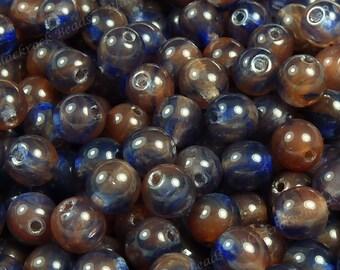6mm Dark Blue and Rust Orange Czech Glass Beads - 50pcs - Smooth Round Druks - BD48