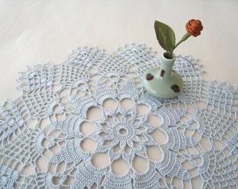 Lace Doily Crochet Doily Cornflower Blue Wedding Decoration Flower Pattern Tablecloth Centerpiece Cottage Chic Home Decor Bridal Shower