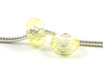 3 Beads - Yellow Canary Glass Crystal Faceted Silver European Bead Charm E0457