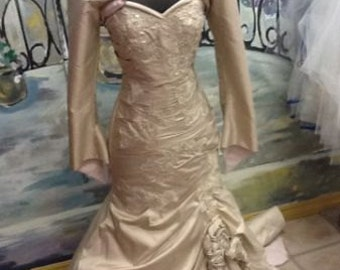 Silk taffeta champagne wedding  gown
