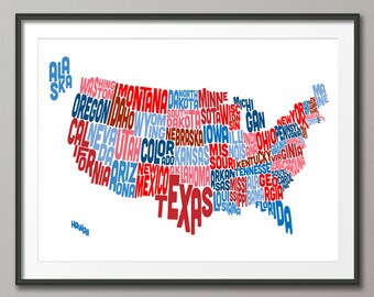 United States Typography Text Map, Art Print (208)