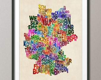 Typography Text Map of Germany Map, Art Print (276)