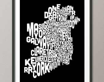 Ireland Eire County Text Map (choice of colors), Art Print (273)