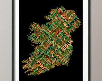 Ireland Eire City Text map, Art Print (314)