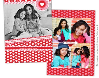 INSTANT DOWNLOAD - Valentine's Day Photocard Template - Photoshop file - E678
