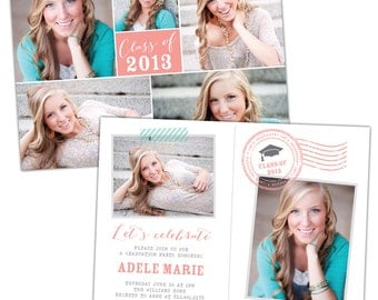 INSTANT DOWNLOAD - Graduation announcement - Photoshop Templates - E784