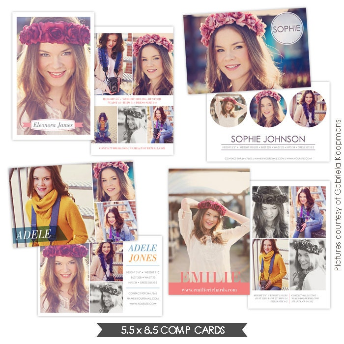 instant download modeling comp cards photoshop templates