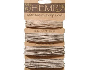 Hemp Cord in 4 Sizes - 10, 20, 36 and 48lb wt - Natural Color