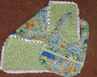 Flannel Baby Blanket and Bib