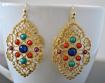 MULTICOLOR FILIGREE dangling  EARRINGS