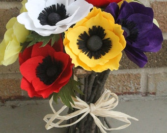 SIX Paper Anemone for wedding bouquet,table decoration,cake decoration