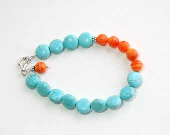 Turquoise Orange Bracelet, Sterling silver, Magnesite turquoise, Orange coral, Semiprecious, Resort wear, Jewelry
