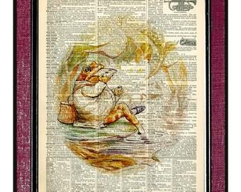 BEATRIX POTTER- Frog Book Art Kids Wall Art Dictionary Art Print Children Art Print Digital Atr Frog Art Kids Illustration Nursery Art Print