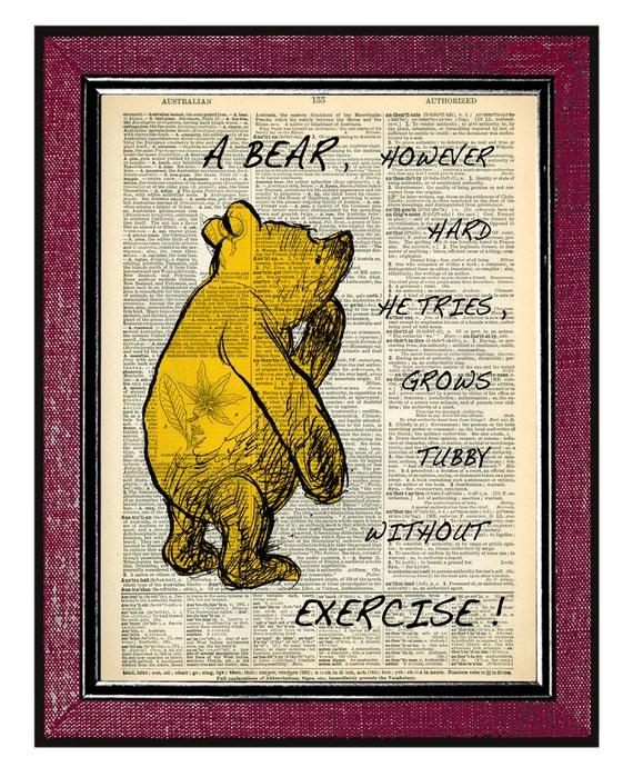 Winnie The Pooh Quote Art: Items Similar To WINNIE The POOH Dorm Decor Wall Decor