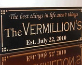 Family Name Sign, 5th Anniversary Sign,  Benchmark Custom Signs Maple UU