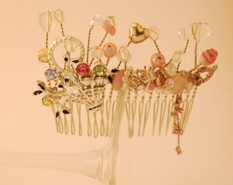 Sweet as Candy Pink Upcycled Bridal Comb