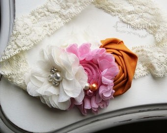 Ivory, Pink and Orange headband, baby headbands, ivory headbands, newborn headbands, lace headbands, photography prop