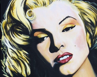 Marilyn Monroe Original Acrylic Portrait by Adam Valentino