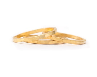 3 Gold Ring Set - Set of 3 Ring Bands - Whisper Thin RIngs - Hammered Texture - Available in sizes 5, 5.5, 6, 6.5, 7, 7.5 and 8
